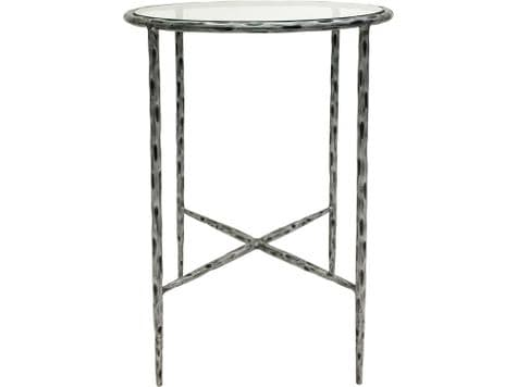 brushed metal and glass side table | silver hammered metal side table | Libra Patterdale